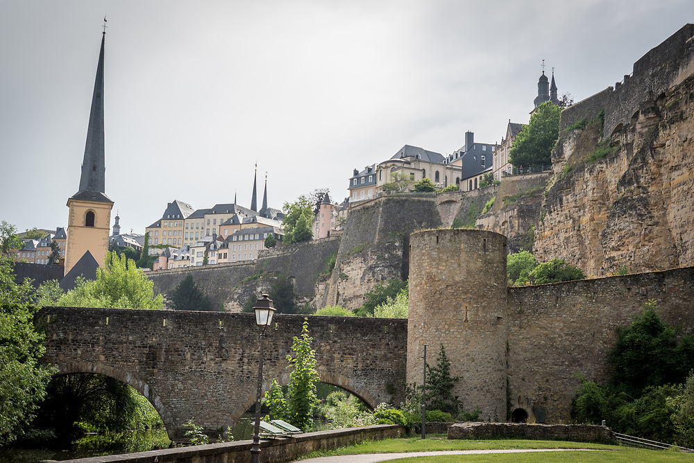 Part of the old city wall, and the church of Saint John in Grund, Luxembourg.