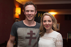 © Licensed to London News Pictures. 29/06/2015.  London, UK. Actors Edmund Wiseman (Stephen Wraysford) and Emily Bowker (Isabelle Azaire) after the performance. Author Sebastian Faulks joins the Birdsong cast as he takes a role in the play at Richmond Theatre. Birdsong, adapted from the Sebastian Faulks novel by Rachel Wagstaff, is performed at Richmond Theatre until 4 July 2015 which finishes the UK tour. Photo credit: Bettina Strenske/LNP