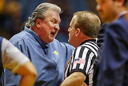 Jan 21, 2019; Morgantown, WV, USA; West Virginia Mountaineers head coach Bob Huggins argues a call during the second half against the Baylor Bears at WVU Coliseum. Mandatory Credit: Ben Queen-USA TODAY Sports