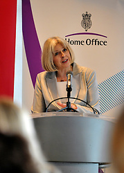 © licensed to London News Pictures. LONDON. UK  14/09/11. Home Secretary and Minister for Women and Equalities, Theresa May, launches 'Voluntary Gender Equality Analysis and Reporting' guidance for employers at Eversheds law firm in Central London today (14 Sept 2011). Photo credit should read Stephen SImpson/LNP