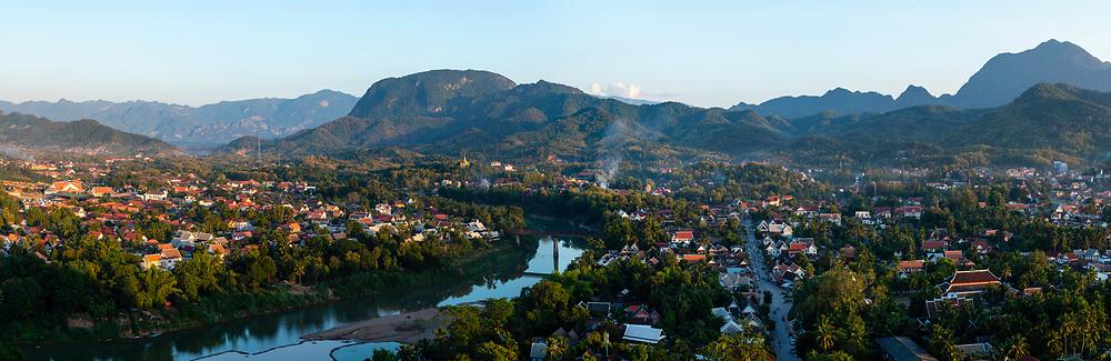High angle panorama of Luang Prabang and the Nam Khan River, Laos, from Mount Phousi.