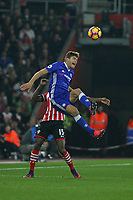 Football - 2016 / 2017 Premier League - Southampton vs Chelsea<br /> <br /> Marcos Alonso of Chelsea is fouled by Southampton's Cuco Martina whilst jumping for a header at St Mary's Stadium Southampton <br /> <br /> COLORSPORT/SHAUN BOGGUST