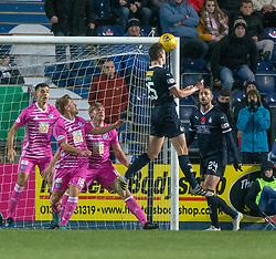 Falkirk's Andrew Irving misses a header. Falkirk 0 v 1 Ayr United, Scottish Championship game played 3/11/2018 at The Falkirk Stadium.