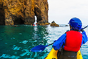 Sea kayaking on Santa Cruz Island, Channel Islands National Park, California