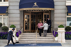 © Licensed to London News Pictures. 17/05/2021. London, UK.  Doorman greet guests entering The Ritz hotel in London as Covid 19 lockdown rules are relaxed from today. Photo credit: Ray Tang/LNP