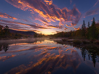 Gorgeous sunrise reflection on Turlehead Pond, Vermont