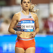 BRUSSELS, BELGIUM:  September 3:  Laura De Witte of the Netherlands preparing for the Belgium V The Netherlands 400m race during the Wanda Diamond League 2021 Memorial Van Damme Athletics competition at King Baudouin Stadium on September 3, 2021 in  Brussels, Belgium. (Photo by Tim Clayton/Corbis via Getty Images)