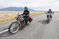 Cris Sommer Simmons (L) of Hawaii riding her 1915 Harley-Davidson with master mechanic Ziggy Dee on Sharon Jacob's 1915 HD during the Motorcycle Cannonball Race of the Century. Stage-10 ride from Pueblo, CO to Durango, CO. USA. Tuesday September 20, 2016. Photography ©2016 Michael Lichter.