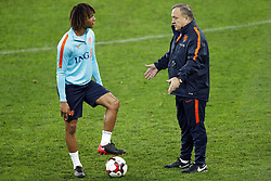 (L-R) Nathan Ake of Holland, coach Dick Advocaat of Holland during a training session prior to the friendly match between Romania and The Netherlands on November 13, 2017 at Arena National in Bucharest, Romania