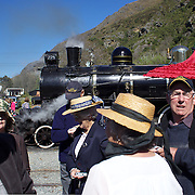 Visitors to the Kingston Flyer vintage steam train at Saturday's relaunch of the historic locomotives at Fairlight near Queenstown, Central Otago, New Zealand, 29th October 2011. Photo Tim Clayton...