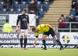 Falkirk's Rory Loy watches Ref John McKendrick using the new spray.  <br /> Falkirk 2 v 1 Brechin City, Scottish Cup fifth round game played today at The Falkirk Stadium.