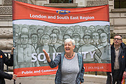 Candy Unwin speaking at the Pay Cap demo. PCS members working in the civil service are holding a short, high profile protest to demonstrate about the continued 1% pay cap public sector pay cap that has been in place for 7 years.Westminster,  London,  United Kingdom. (Photo by Andy Aitchison / PCS)