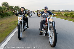 Kissa Von Adams riding her 1996 custom Harley-Davidson Sportster Chopper beside Xavier Muriel on his Pan-Shovel named Grace on a ride to Cape Canaveral during Daytona Beach Bike Week, FL. USA. Monday, March 11, 2019. Photography ©2019 Michael Lichter.