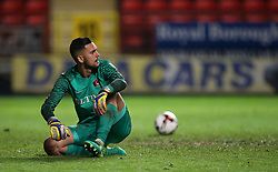 Charlton U23's Dimitar Mitov during the penalty shoot out