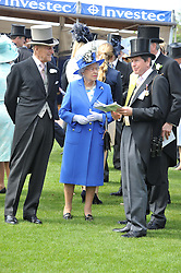 The DUKE OF EDINBURGH, HM THE QUEEN and SIR JOHN WARREN at the 2012 Investec sponsored Derby at Epsom Racecourse, Epsom, Surrey on 2nd June 2012.