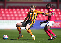 Hull City's Tom Eaves in action with Crewe Alexandra's Omar Beckles<br /> <br /> Photographer Mick Walker/CameraSport<br /> <br /> The EFL League 1 - Crewe Alexandra v Hull City  - Friday 2nd April  2021 - Alexandra Stadium-Crewe<br /> <br /> World Copyright © 2020 CameraSport. All rights reserved. 43 Linden Ave. Countesthorpe. Leicester. England. LE8 5PG - Tel: +44 (0) 116 277 4147 - admin@camerasport.com - www.camerasport.com