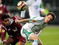 Fotball , 18. mars 2010<br /> Europa League <br /> VFL Wolfsburg - Rubin Kasan<br /> <br /> v.l. Christian Noboa, Sascha Riether Wolfsburg<br />  <br /> Norway only