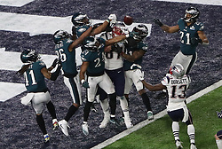 February 4, 2018 - Minneapolis, CA - Super Bowl Eagles wins 41-33 over Patriots..Newn England Patriots tight end Rob Gronkowski (87) is prevented from catching Tom Brady's Hail Mary at U.S. Bank Stadium on Sunday, Feb. 4, 2018 in Minneapolis, CA (Credit Image: © Paul Kuroda via ZUMA Wire)
