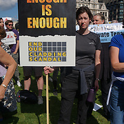 Protestors demand the law protest Leasehold Laws. Stop used Leaseholder as endless cash cows, Parliament Square on 2021-09-16, London, UK.