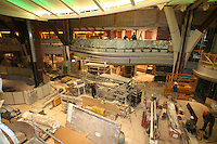 Oasis of the Seas at the shipyard in Turku, Finland where she is being built..Photos show Royal Caribbean's latest  ship 2 months before completion. .Royal Promenade