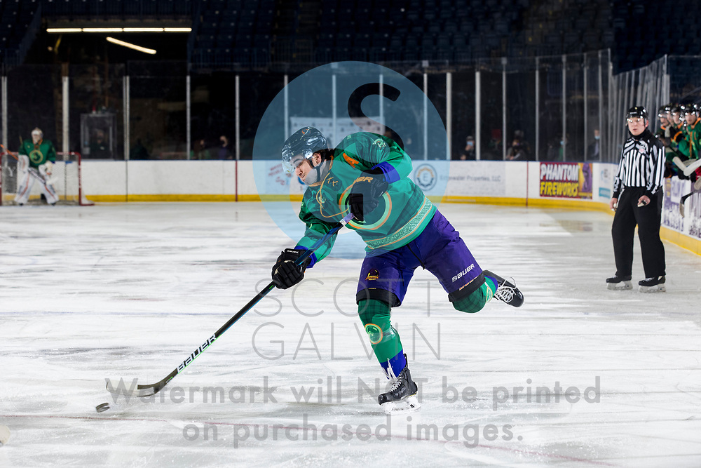 Youngstown Phantoms lose 5-4 to the Dubuque Fighting Saints at the Covelli Centre on March 13, 2021.<br /> <br /> Jack Malone, forward, 18