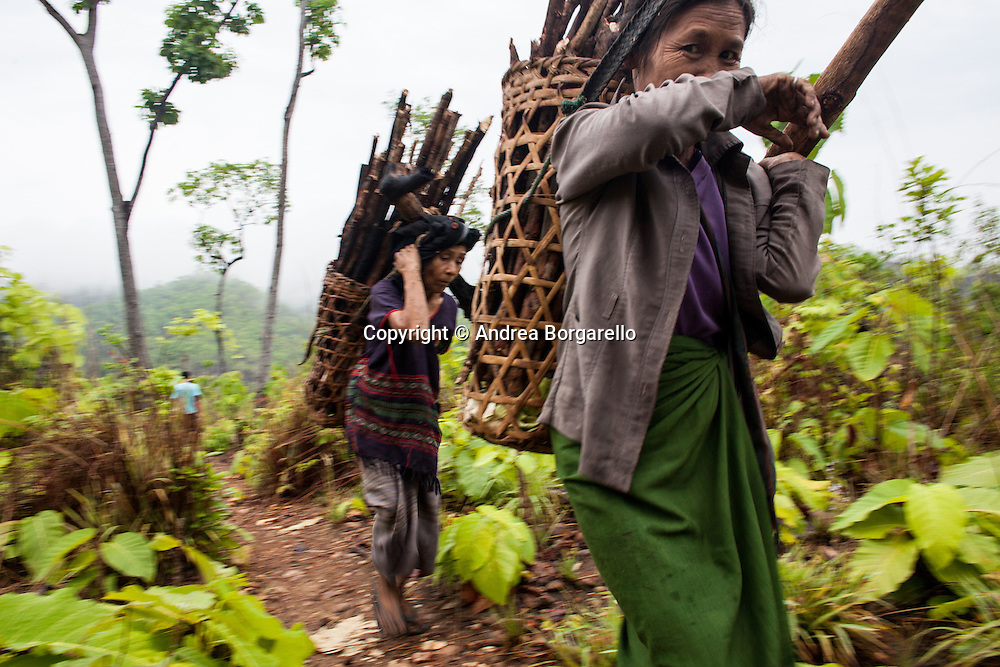 Karen women are carrying wood with traditional baskets