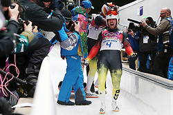 The XXII Winter Olympic Games 2014 in Sotchi, Olympics, Olympische Winterspiele Sotschi 2014<br /> Tobias Wendl and Tobias Arlt (Germany) at the finish of the final run in the mens doubles luge competition at the XXII Olympic Winter Games in Sochi