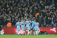 Yaya Toure of Manchester City (3rd right) celebrates with teammates after scoring his sides 4th goal from a penalty. Premier league match, West Ham Utd v Manchester city at the London Stadium, Queen Elizabeth Olympic Park in London on Wednesday 1st February 2017.<br /> pic by John Patrick Fletcher, Andrew Orchard sports photography.