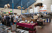 Flea market inside Market Hall building, Abergavenny, Monmouthshire, South Wales, UK