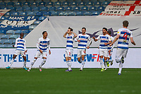 Football - 2020 / 2021 Sky Bet Championship - Queens Park Rangers vs AFC Bournemouth - Kiyan Prince Foundation Stadium<br /> <br /> QPR players run to celebrate with Todd Kane (Queens Park Rangers) after he gives his team it's second goal and a 2-1 lead <br /> <br /> COLORSPORT/DANIEL BEARHAM