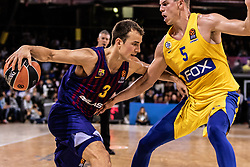 November 1, 2018 - Barcelona, Barcelona, Spain - Kevin Pangos, #3 of FC Barcelona Lassa in actions during EuroLeague match between FC Barcelona Lassa and Maccabi Fox Tel Aviv  on November 01, 2018 at Palau Blaugrana, in Barcelona, Spain. (Credit Image: © AFP7 via ZUMA Wire)