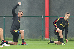September 5, 2018 - Tubize, BELGIUM - Belgium's Birger Verstraete and Belgium's Leandro Trossard pictured during a training session of Belgian national soccer team the Red Devils in Tubize, Wednesday 05 September 2018. The team is preparing for a friendly match against Scotland on 07 September and the UEFA Nations League match against Iceland on 11 September. BELGA PHOTO BRUNO FAHY (Credit Image: © Bruno Fahy/Belga via ZUMA Press)