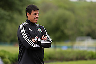 FAW press conference with Wales National football Team Manager, Chris Coleman is pictured after he signs a new extension to his contract at the Vale Resort Hotel in Hensol, South Wales on Monday 23rd May 2016.<br /> pic by Andrew Orchard, Andrew Orchard sports photography.