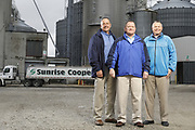 SHOT 10/29/18 9:47:08 AM - Sunrise Cooperative is a leading agricultural and energy cooperative based in Fremont, Ohio with members spanning from the Ohio River to Lake Erie. Sunrise is 100-percent farmer-owned and was formed through the merger of Trupointe Cooperative and Sunrise Cooperative on September 1, 2016. Photographed at the Clyde, Ohio grain elevator was George D. Secor President / CEO and John Lowry<br /> Chairman of the Board of Directors with  CoBank RM Gary Weidenborner. (Photo by Marc Piscotty © 2018)
