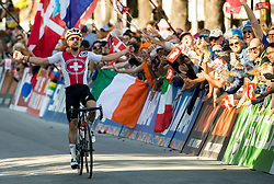 Arrival / Marc Hirschi of Switzerland / Celebration / During the Men Under 23 Road Race a 179.9km Race from Kufstein to Innsbruck at 582m at the 91st UCI Road World Championships 2018 / RR / RWC / on September 28, 2018 in Innsbruck, Austria. Photo by Vid Ponikvar / Sportida