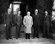 15th October 1952<br /> P.J. Carroll and Co. Ltd tobacco factory, Dundalk. Visit of Sean MacEntee, Minister for Finance, to the Factory. Picture shows (l-r): Mr. L. Steen, President Dundalk Chamber of Commerce; Mr. Kevin McCourt, Director; Minister MacEntee;  Mr. Walther J. Carroll, Director and Mr. M. Kerley, Factory Manager.
