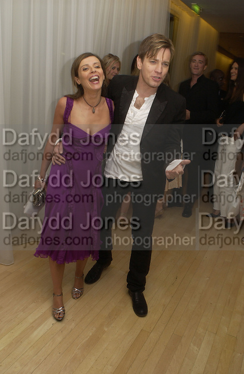 """Ewan  and Eve McGregor at post - premiere party for   """"The Island"""" at the Sanderson, London. 7 August 2005. , ONE TIME USE ONLY - DO NOT ARCHIVE  © Copyright Photograph by Dafydd Jones 66 Stockwell Park Rd. London SW9 0DA Tel 020 7733 0108 www.dafjones.com"""