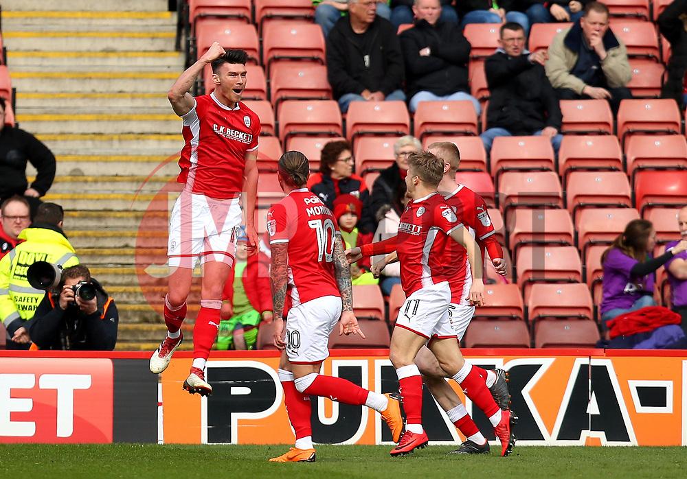 Kieffer Moore of Barnsley celebrates scoring a goal to make it 1-0 - Mandatory by-line: Robbie Stephenson/JMP - 30/03/2018 - FOOTBALL - Oakwell Stadium - Barnsley, England - Barnsley v Bristol City - Sky Bet Championship