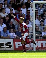 Photo: Richard Lane.<br />Walsall v Aston Villa. Pre-season friendly. 02/08/2003.<br />Paul Merson celebrates his first home goal for Walsall.