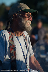 Mike Bell after stage 15 (244 miles) of the Motorcycle Cannonball Cross-Country Endurance Run, which on this day ran from Lewiston, Idaho to Yakima, WA, USA. Saturday, September 20, 2014.  Photography ©2014 Michael Lichter.