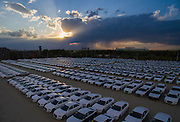 CHANGCHUN, CHINA - JUNE 12: (CHINA OUT) <br /> Aerial View of Audi vehicles in FAW-Volkswagen Changchun plant parking lot on June 12, 2016 in Changchun, Jilin province. FAW Automotive is the third largest automobile manufacturer in China, producing 2.7 million cars a year. FAW manufactures automobiles for foreign brands such as Audi in China.<br /> ©Exclusivepix Media