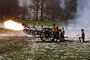 Six separate cannons fired a total of 41 salutes, marking the time her Majesty has  reigned.