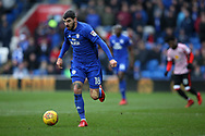 Callum Paterson of Cardiff city in action.  EFL Skybet championship match, Cardiff city v Sunderland at the Cardiff city stadium in Cardiff, South Wales on Saturday 13th January 2018.<br /> pic by Andrew Orchard, Andrew Orchard sports photography.