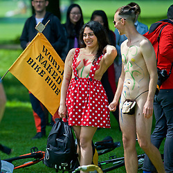 World Naked Bike ride. A protest against car culture, oil dependency, and a way to demonstrate cyclist vulnerably on the roads. Middle Meadow Walk, Edinburgh16th June 2016, (c) Brian Anderson   Edinburgh Elite media