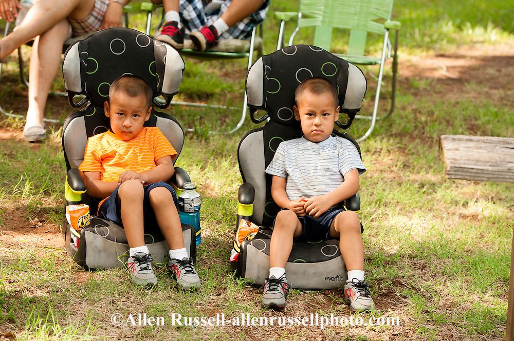 Twins, boys, kids, Caddo Nation, Indians, Native Americans, Binger, Oklahoma