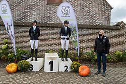 Podium-R04-Z1, Van Loo Steffi, Swinnen Celine, Maes Paulien<br /> Nationaal Kampioenschap LRV <br /> Paarden Dressuur - Oudenaarde 2020<br /> © Hippo Foto - Dirk Caremans<br /> 04/10/2020