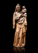 Gothic wood statue of Virgin and Child by tan anontmous Catalan Artist. Carved alabaster with remains of polychrome and gold leaf. Date Second half of 14th century. Dimensions 117.5 x 38.6 x 28.4 cm.  Probably comes from Sanaüja (Segarra). National Museum of Catalan Art, Barcelona, Spain inv no: 004359-000