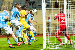 Shamar Amaro Nicholson of NK Domzale and Johan Dahlin  with Rasmus Bengtsson of Malmo FF during Football match between NK Domzale and Malmo FF in Second Qualifying match of UEFA Europa League 2019/2020, on July 25th, 2019 in Sports park Domzale, Domzale, Slovenia. Photo by Grega Valancic / Sportida