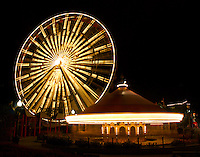 Carrousel and Ferris Wheel at Navy Pier in Chicago, Navy pier is popular tourist attraction in the City.