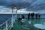 New years sunrise viewing on the Tokyo-Wan ferry between Chiba and Yokosuka Kanagawa prefecture Japan
